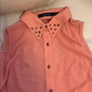 Peach blouse with studs